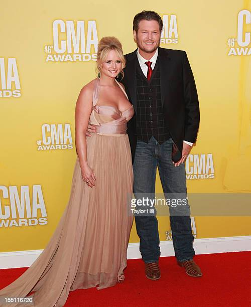 Miranda Lambert and Blake Shelton attend the 46th annual CMA Awards at the Bridgestone Arena on November 1 2012 in Nashville Tennessee