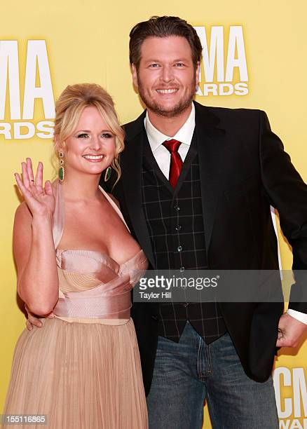 Miranda Lambert and Blake Shelton attend the 46th annual CMA Awards at the Bridgestone Arena on November 1 2012 in Nashville Tennessee