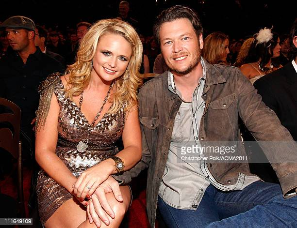 Miranda Lambert and Blake Shelton attend the ACM Presents Girls' Night Out Superstar Women of Country concert held at the MGM Grand Garden Arena on...
