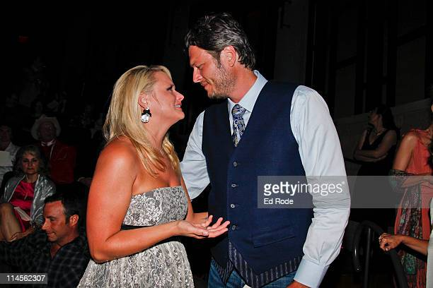 Miranda Lambert and Blake Shelton attends the 2011 Country Music Hall of Fame Medallion Ceremony induction at Country Music Hall of Fame and Museum...