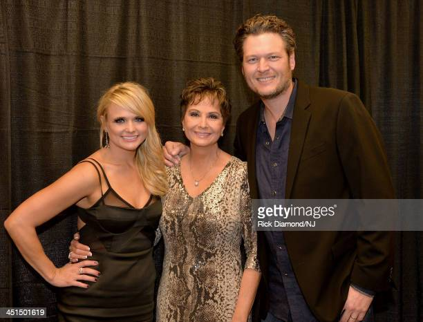 Miranda Lambert Nancy Jones and Blake Shelton attend Playin' Possum The Final No Show Tribute To George Jones at Bridgestone Arena on November 22...