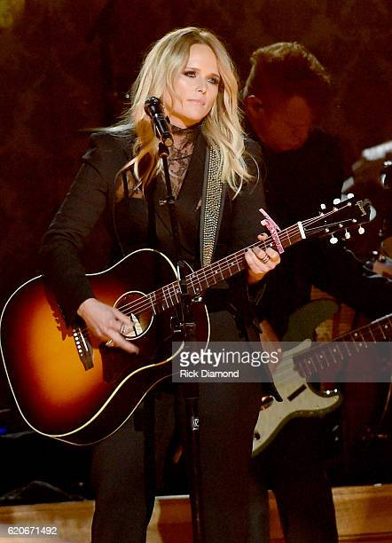 Miranda Lambert performs onstage at the 50th annual CMA Awards at the Bridgestone Arena on November 2 2016 in Nashville Tennessee