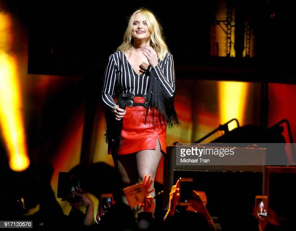 Miranda Lambert performs onstage during the 2018 Miranda Lambert Livin' Like Hippies Tour held at The Forum on February 10 2018 in Inglewood...