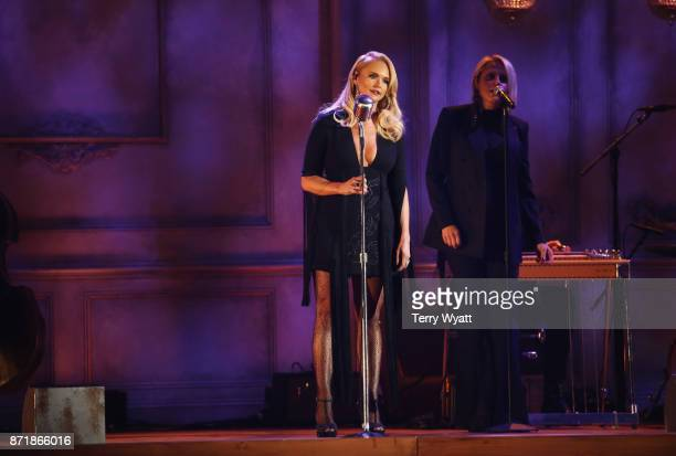 Miranda Lambert performs onstage during the 51st annual CMA Awards at the Bridgestone Arena on November 8 2017 in Nashville Tennessee