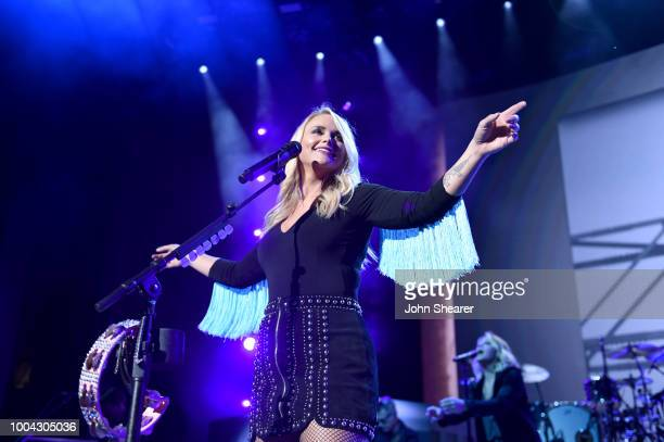 Miranda Lambert performs onstage during The Bandwagon Tour at Xfinity Center on July 21 2018 in Mansfield Massachusetts