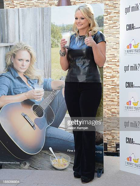 Miranda Lambert poses at Got Milk ad unveiling at the Country Music Association headquarters on October 31 2012 in Nashville Tennessee