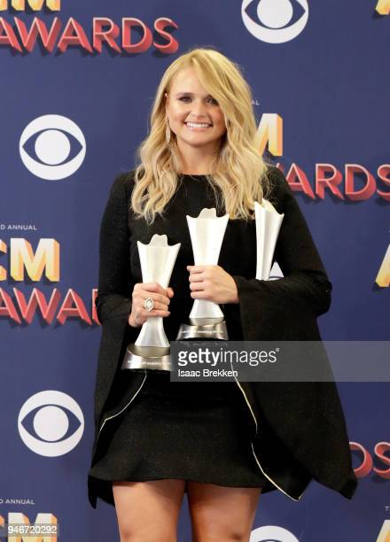 Miranda Lambert winner of Female Vocalist of the Year and Song of the Year for 'Tin Man' poses in the press room during the 53rd Academy of Country...