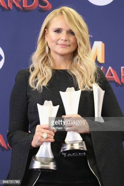 Miranda Lambert winner of Song of the Year Video of the Year and Female Vocalist of the Year poses in the press room during the 53rd Academy of...