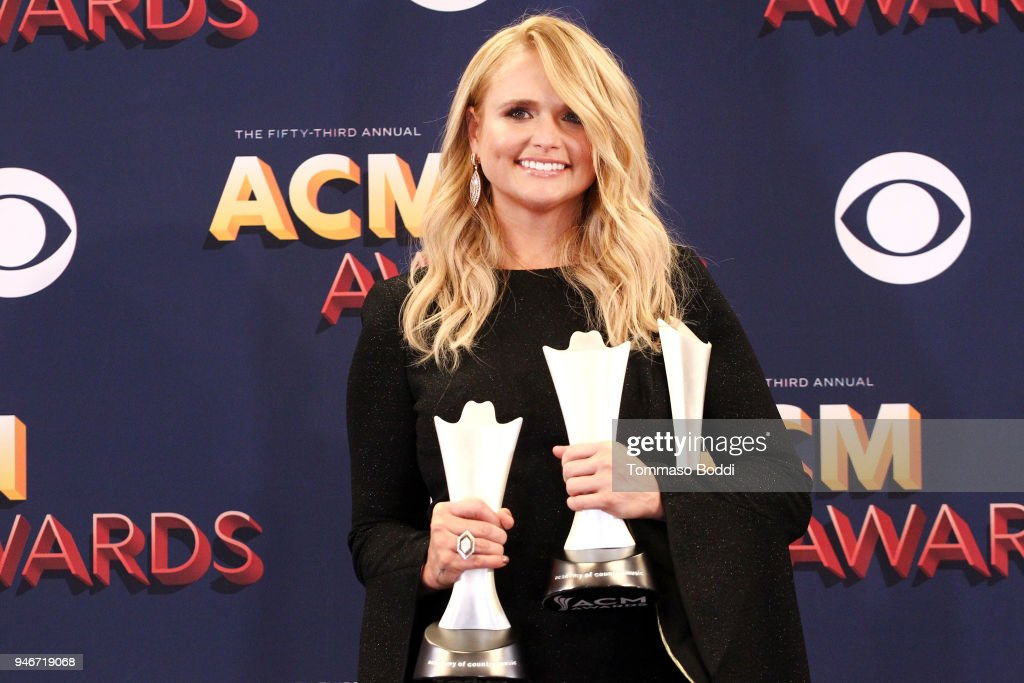 Miranda Lambert, winner of the Female Vocalist of the Year award and Song of the Year award for 'Tin Man,' poses in the press room during the 53rd Academy of Country Music Awards at MGM Grand Garden Arena on April 15, 2018 in Las Vegas, Nevada.