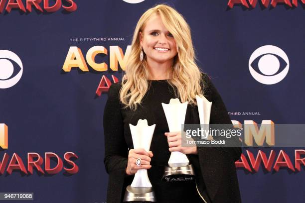 Miranda Lambert winner of the Female Vocalist of the Year award and Song of the Year award for 'Tin Man' poses in the press room during the 53rd...