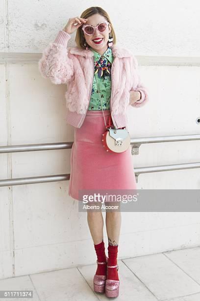 Miranda Makaroff wears Chiara Ferragni shoes Topshop skirt Vintage shirt Vintage Jacket Salar Milano handbag Opening Ceremony sunglasses and Lidya...