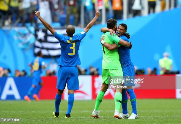 Miranda of Brazil Alisson of Brazil and Thiago Silva of Brazil celebrate following their sides victory in the 2018 FIFA World Cup Russia group E...