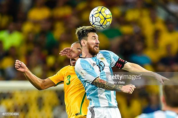 Miranda of Brazil and Messi of Argentina battle for the ball during a match between Brazil and Argentina as part 2018 FIFA World Cup Russia Qualifier...