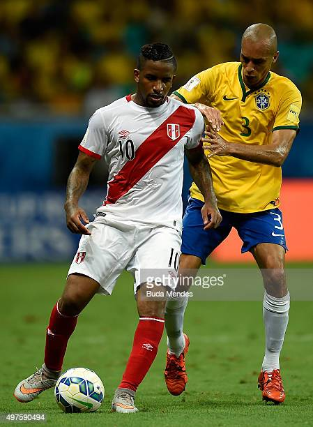 Miranda of Brazil battles for the ball with Jefferson Farfan of Peru during a match between Brazil and Peru as part of 2018 FIFA World Cup Russia...
