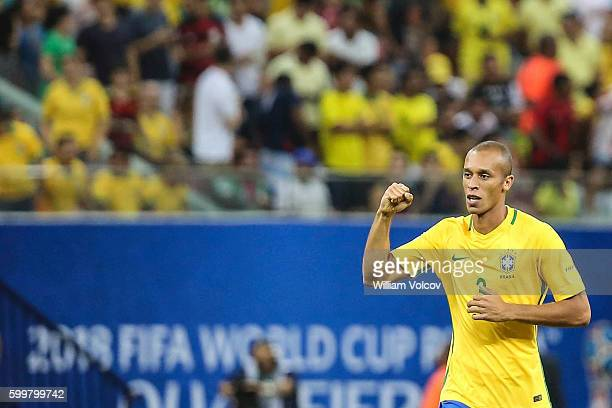 Miranda of Brazil celebrates after scoring during a match between Brazil and Colombia as part of FIFA 2018 World Cup Qualifiers at Arena Amazonia...