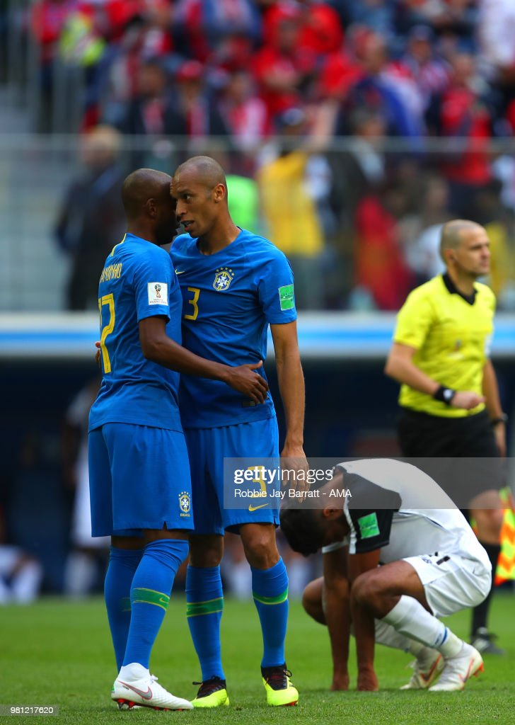 Miranda of Brazil celebrates with Fernandinho at the end of the 2018 FIFA World Cup Russia group E match between Brazil and Costa Rica at Saint Petersburg Stadium on June 22, 2018 in Saint Petersburg, Russia.