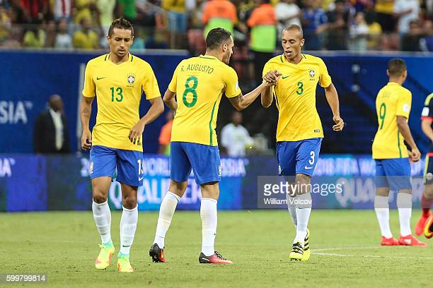 Miranda of Brazil celebrates with teammate Renato Augusto after scoring during a match between Brazil and Colombia as part of FIFA 2018 World Cup...