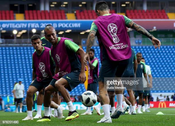 Miranda of Brazil challenges Fagner of Brazil during a Brazil training session ahead of the FIFA World Cup 2018 at Rostov Arena on June 16 2018 in...