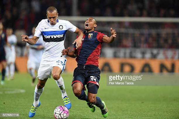 Miranda of FC Internazionale competes for the ball with Gabriel Silva of CFC Genoa during the Serie A match between Genoa CFC and FC Internazionale...