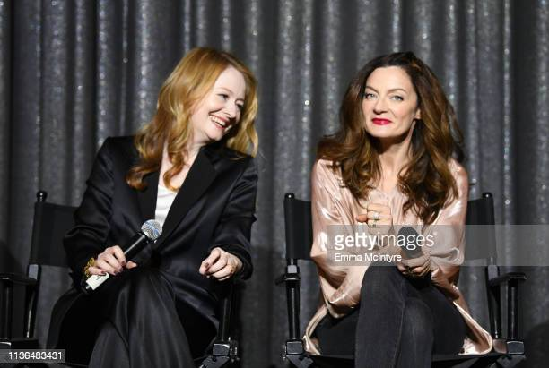 Miranda Otto and Michelle Gomez speak onstage at Netflix's The Chilling Adventures of Sabrina QA and Reception at the Pacific Design Center on March...