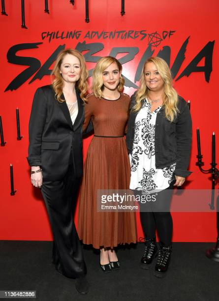 Miranda Otto Kiernan Shipka and Lucy Davis attend Netflix's The Chilling Adventures of Sabrina QA and Reception at the Pacific Design Center on March...