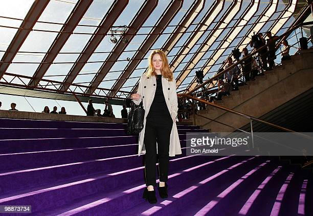Miranda Otto poses just prior to the Dion Lee show on the fourth day of Rosemount Australian Fashion Week Spring/Summer 2010/11 offsite at XXX on May...
