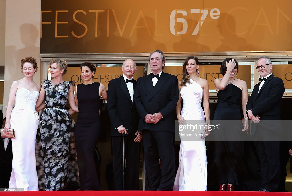 Miranda Otto, Sonja Richter, a guest, President of the Cannes Film Festival Gilles Jacob, Tommy Lee Jones, Hilary Swank, a guest and General Delegate of the Cannes Film Festival Thierry Fremaux attend 'The Homesman' premiere during the 67th Annual Cannes Film Festival on May 18, 2014 in Cannes, France.