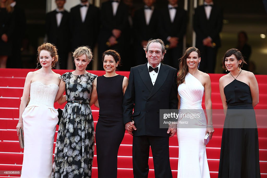 Miranda Otto, Sonja Richter, a guest, Tommy Lee Jones and Hilary Swank attend 'The Homesman' premiere during the 67th Annual Cannes Film Festival on May 18, 2014 in Cannes, France.