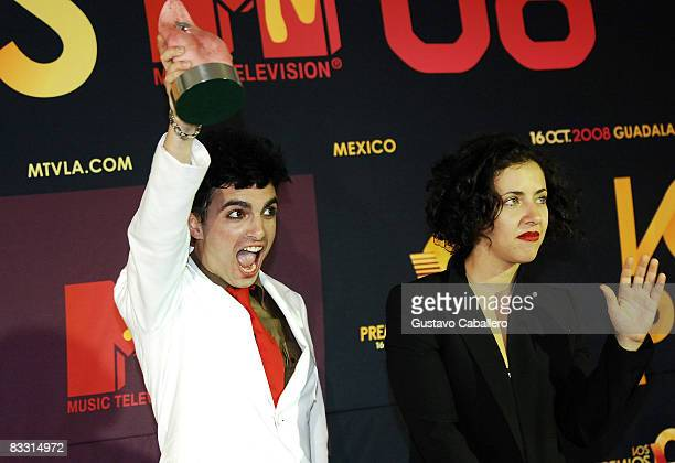 Miranda poses with award in the press room during the 7th Annual 'Los Premios MTV Latin America 2008' Awards held at the Auditorio Telmex on October...