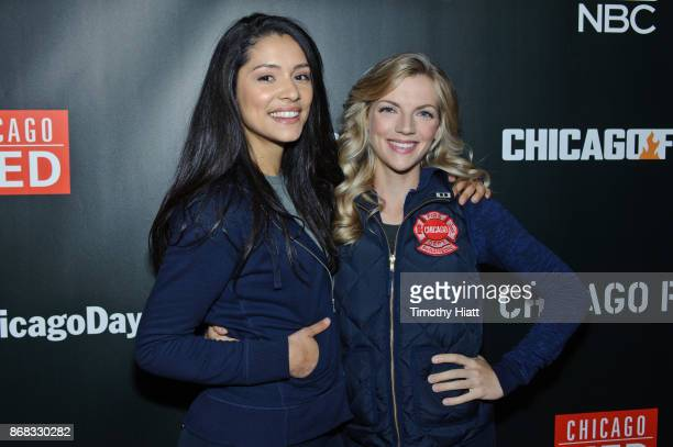Miranda Rae Mayo and Kara Killmer attend the press junket for One Chicago on October 30 2017 in Chicago Illinois