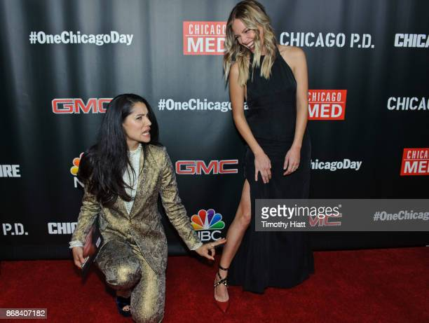 Miranda Rae Mayo and Tracy Spiridakos attend the One Chicago party during NBC's 'One Chicago' press day on October 30 2017 in Chicago Illinois