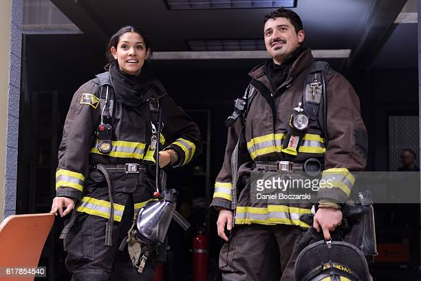 Miranda Rae Mayo and Yuri Sardarov attend the behindthescenes set visits during NBC's Chicago series press day on October 24 2016 in Chicago Illinois