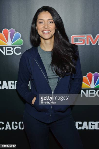 Miranda Rae Mayo attends the press junket for One Chicago on October 30 2017 in Chicago Illinois