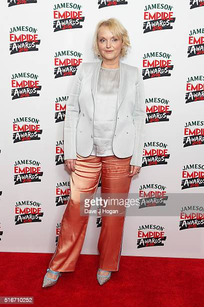 Miranda Richardson poses in the winners room at the Jameson Empire Awards 2016 at The Grosvenor House Hotel on March 20 2016 in London England