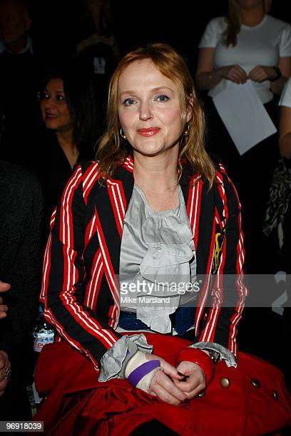 Miranda Richardson poses on the front row at the Betty Jackson show for London Fashion Week Autumn/Winter 2010 at Somerset House on February 21 2010...
