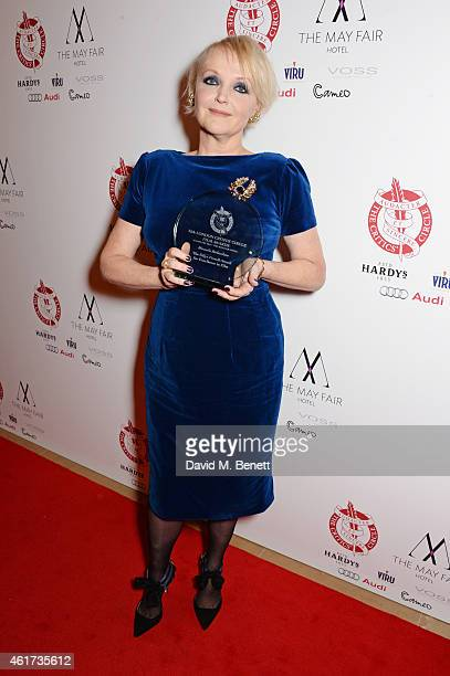 Miranda Richardson, winner of the Dilys Powell Award for Excellence In Film, poses in the Winners Room at The London Critics' Circle Film Awards at...