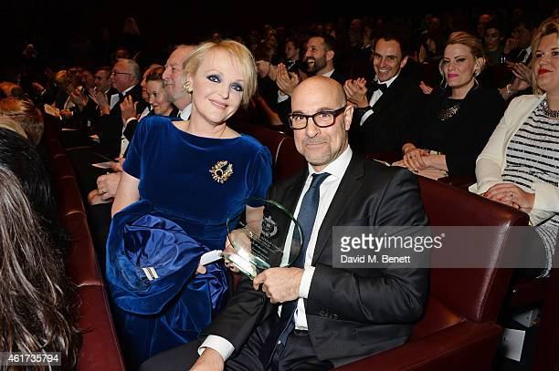 Miranda Richardson winner of the Dilys Powell Award for Excellence In Film and presenter Stanley Tucci attend the The Critics' Circle Film Awards at...