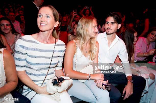 Miranda Rijnsburger and Rodrigo Iglesias attend Agatha Ruiz de la Prada fashion show during the Mercedes Benz Fashion Week Spring/Summer 2020 on July...