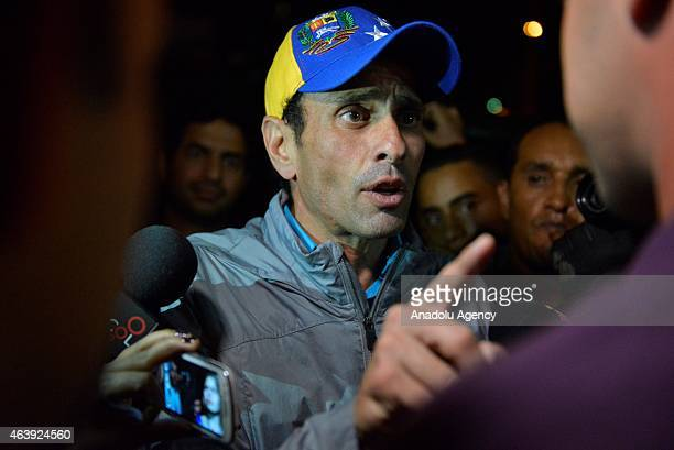 Miranda state governor and opposition leader Henrique Capriles Radonski and supporters of Caracas Mayor Antonio Ledezma gather in front of the...