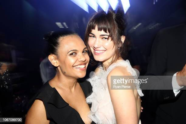 Miranda Tapsell and Charlotte Best pose during the NGV Gala 2018 at National Gallery of Victoria on December 1 2018 in Melbourne Australia