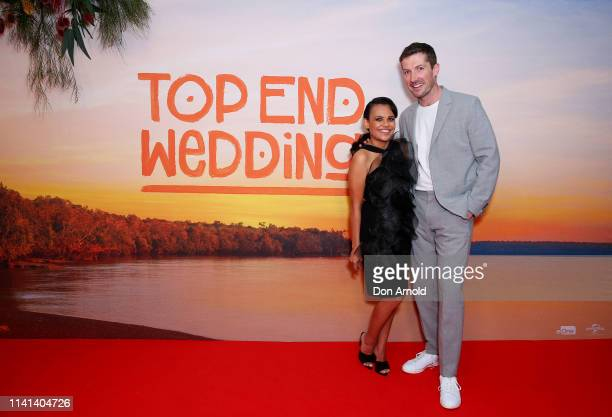 Miranda Tapsell and Gwilym Lee attend the Top End Wedding Sydney Premiere on April 09 2019 in Sydney Australia