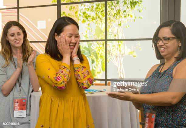 Miranda Van Iderstine Angela Lee Dea Vazquez Film Independent Artist Development Staff attend Fast Track Session during the 2017 Los Angeles Film...
