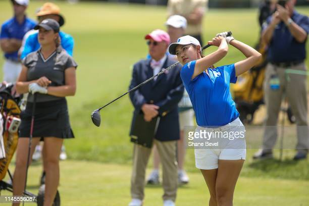 Miranda Wang of Duke University tees off on the first hole during the Division I Women's Golf Match Play Championship held at Blessings Golf Club on...