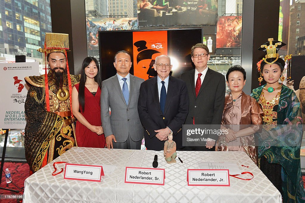 Miranda Xu, Director of Operations, Nederlander Worldwide Entertainment; Wang Yong, President, Qinhuang Grand Theater Performing Art Co, Ltd; Robert Nederlander, Sr., Chairman, Nederlander Worldwide Entertainment; Bob Nederlander, Jr., President & CEO, Nederlander Worlwide Entertainment and Pan Yang, Artistic Director, Shaanxi Miracle Achievements Development Co. Ltd and Producer, The Legend of Emperor Qin attend the announcement of a new spectacular entertainment and travel destination in China located in Xi'An on site of the legendary Terra Cotta Warriors & Horses, at Minskoff Theatre on August 28, 2013 in New York City.