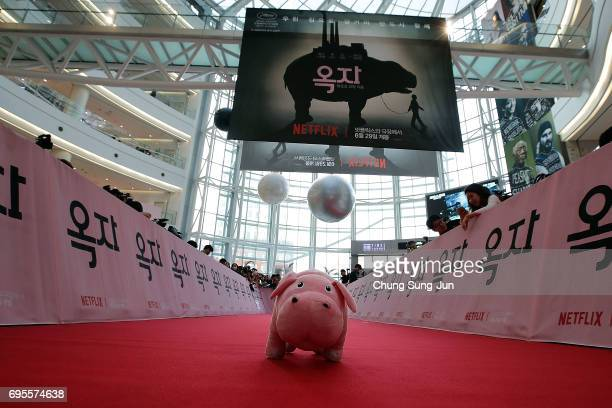 Mirando's Superpig sits on the red carpet before the Korean Red Carpet Premiere of Netflix release 'Okja at Times Square on Tuesday June 13 2017 in...