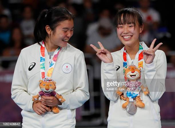 Mirano Abe and Rikako Yamakawa of Japan poses after their 41 loss to Portugal in the Women's Futsal Final match between Portugal and Japan during the...