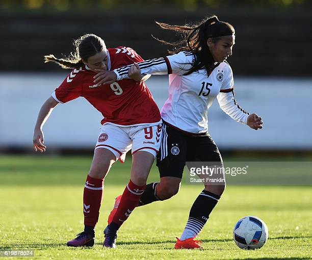 Miray Cin of Germany is challenged by Sarah Sundahl of Denmark during the International Friendly match between U16 Girl's Germany and U16 Girl's...