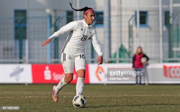 Miray Cin of Germany runs with the ball during the UEFA U17 Girl's European Championship Qualifier match between Germany and Iceland at neusw Stadion...