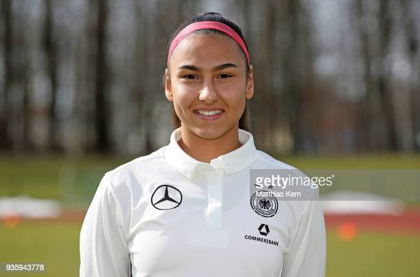 Miray Cin poses during the U17 Girl's Germany team presentation at Volksstadion on March 21 2018 in Greifswald Germany