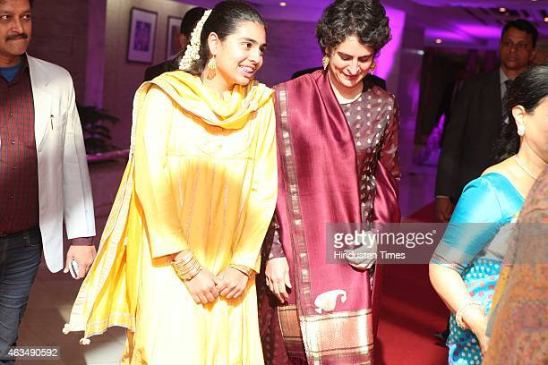 Miraya Vadra and Priyanka Gandhi Vadra during the wedding reception of Member of Parliament T Subbarami Reddy's grandson Rajiv Reddy and Kavya at...